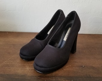3c56f014ad1 90 s Classified platform fabric size 7 club kid heels   rave contempo  casuals wet seal platform heels   90s chunky black heels size 7