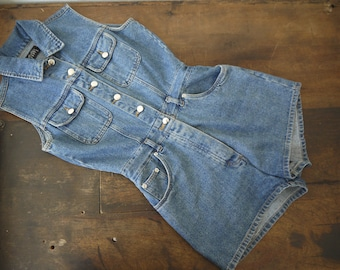 f3d1d59b9c02 Vintage Boutique Europe denim romper   vintage denim overall jumpsuit romper    Vintage 70s Blue Denim Romper Playsuit Shorts Jumpsuit