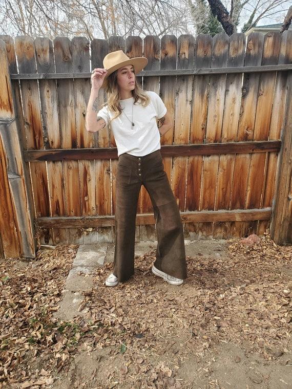 Vintage suede wide leg bell bottom pants / vintge