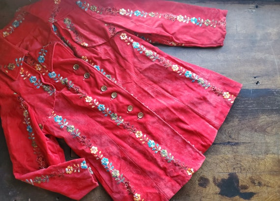 Vintage Hungarian embroidered red suede 70s jacket