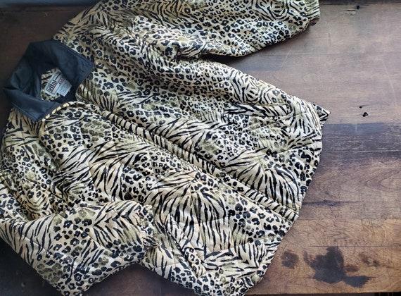 Vintage silk leopard animal quilted patchwork jack