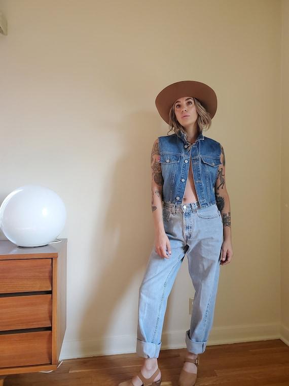 Vintage LEI denim vest / Vintage denim crop vest … - image 1