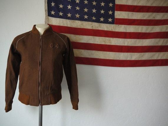 Vintage OK Wool Varsity Jacket / Wool Souvenir Jac