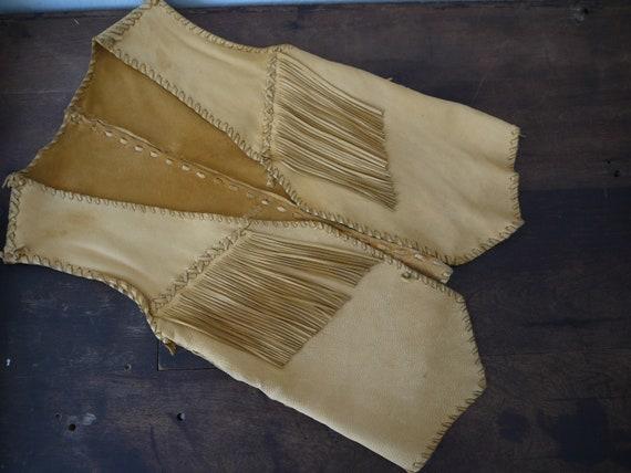 Vintage Fringe Buck Skin Suede Vest 1930s / Vintag