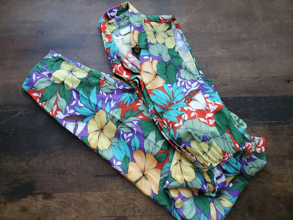 Vintage small fitted floral hawaiian print jumpsui