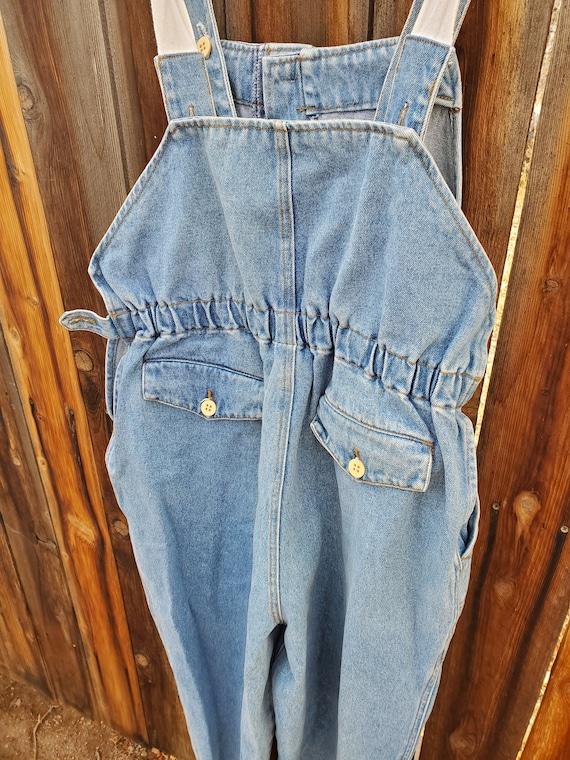 Vintage blue unisex soft denim adjustable overall… - image 7