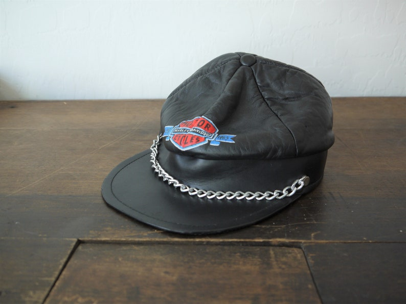 ef0054895 Vintage RARE 70s Harley Davidson Leather Captain's Hat EASY RIDERS Limited  Edition / 1980's Harley Davidson Leather Captain's Military Cap