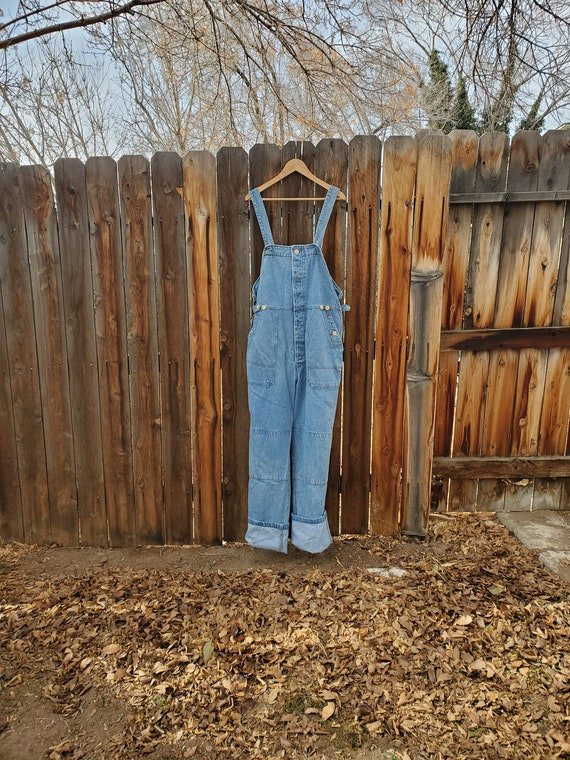 Vintage blue unisex soft denim adjustable overalls