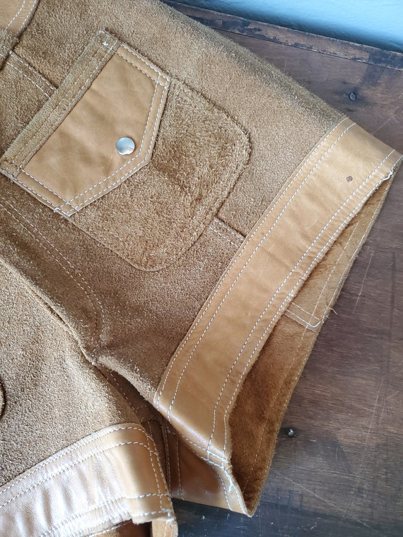 Vintage brown suede and leather shorts / vintage … - image 4
