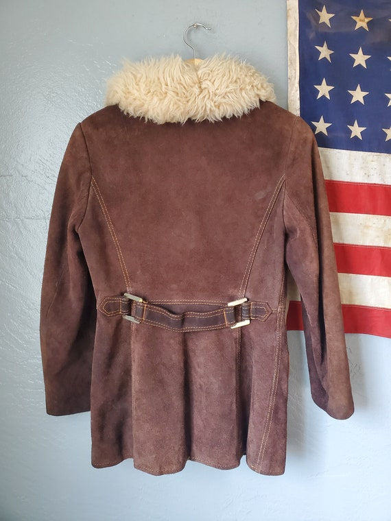 SALE! Vintage small suede penny lane fur collar c… - image 3