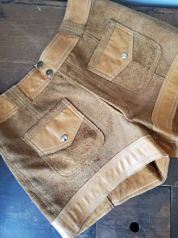 Vintage brown suede and leather shorts / vintage … - image 2