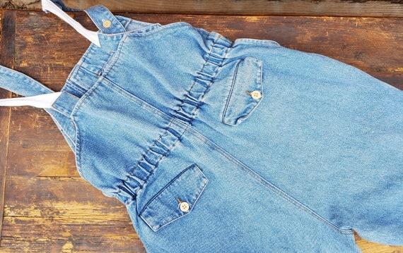 Vintage blue unisex soft denim adjustable overall… - image 9