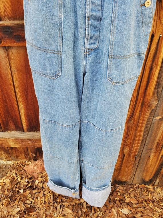 Vintage blue unisex soft denim adjustable overall… - image 4