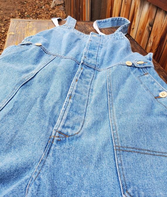 Vintage blue unisex soft denim adjustable overall… - image 10