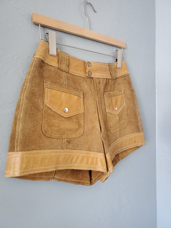 Vintage brown suede and leather shorts / vintage … - image 8