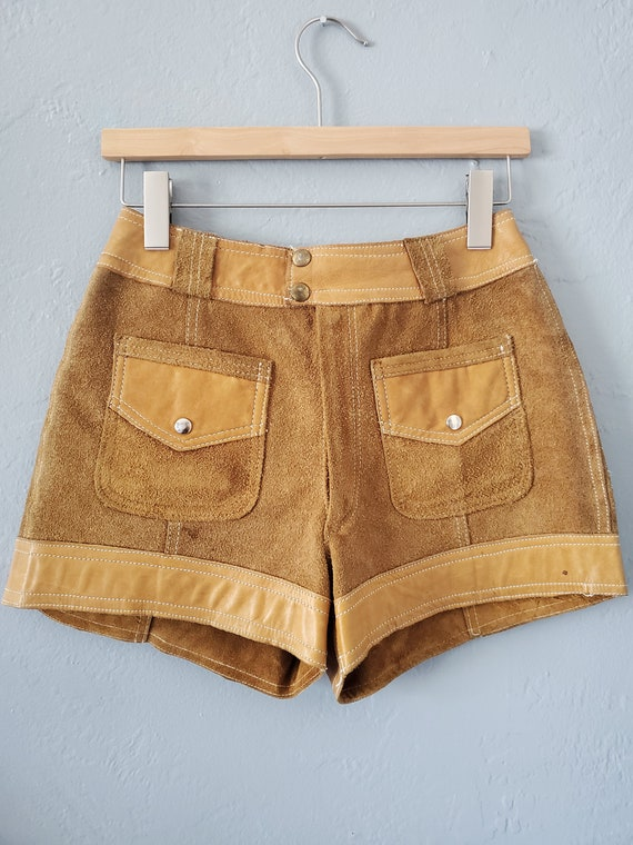 Vintage brown suede and leather shorts / vintage … - image 7