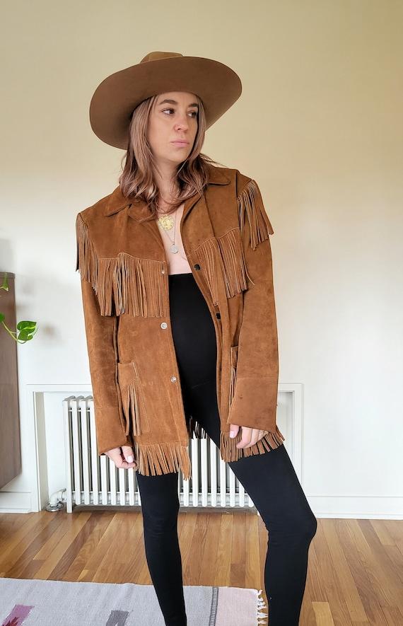 Vintage brown suede western fringe mens large jack