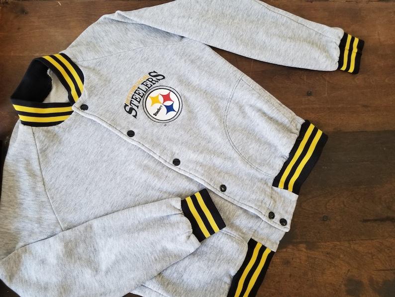 low priced 5abc5 b8b4d RARE Pittsburgh Steelers snap button raglan sweatshirt jacket / vintage  Steelers sweatshirt / Vintage Steelers jacket hoodie tshirt