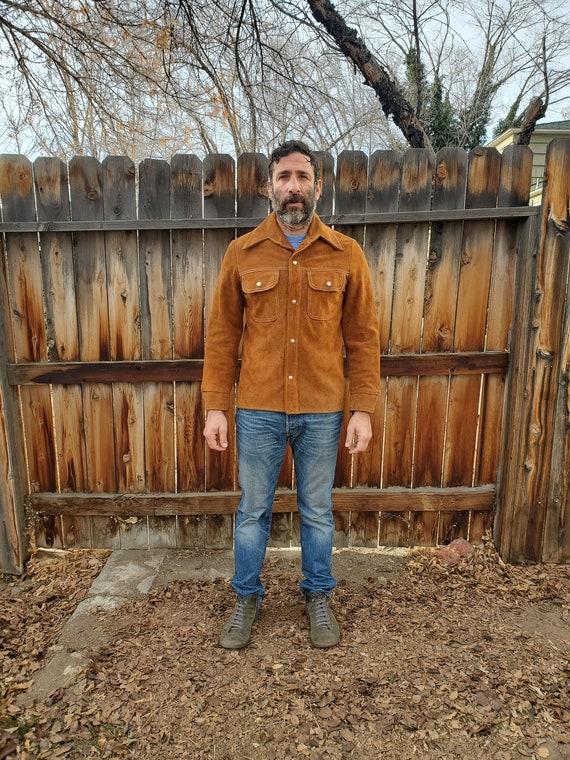 Vintage suede button up jacket / vintage suede lea