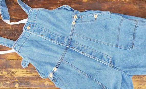 Vintage blue unisex soft denim adjustable overall… - image 8