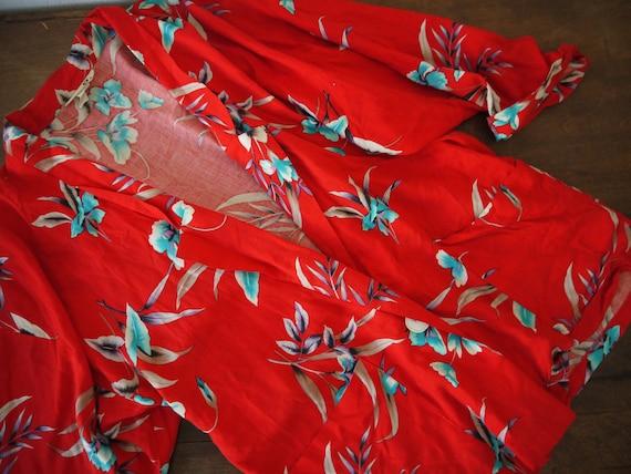 90s floral red oversized hawaiian blazer / vintage