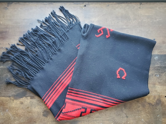 Vintage native black and red fringe embroidered wo