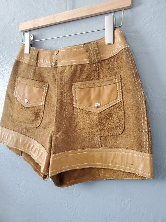 Vintage brown suede and leather shorts / vintage … - image 9
