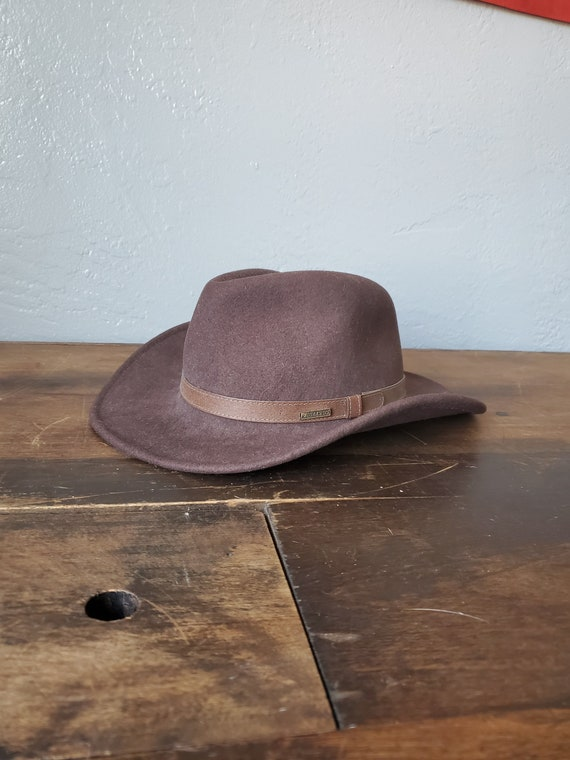 Vintage Stetson wool cowboy hat / vintage leather