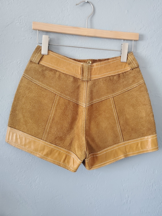 Vintage brown suede and leather shorts / vintage … - image 10