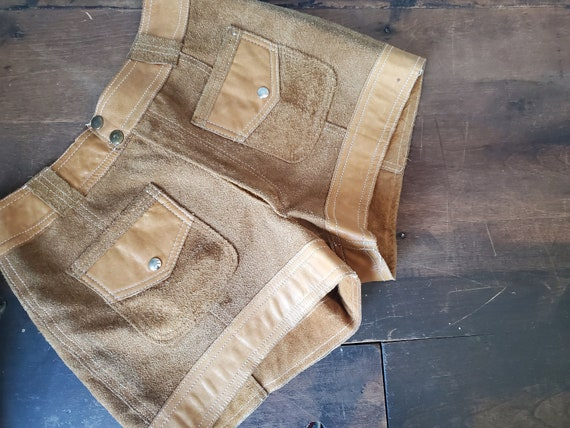 Vintage brown suede and leather shorts / vintage … - image 1