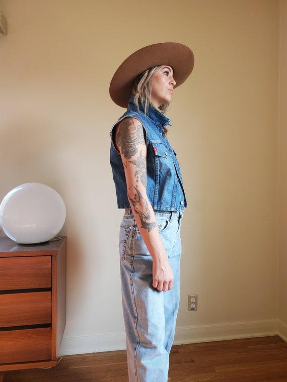 Vintage LEI denim vest / Vintage denim crop vest … - image 5