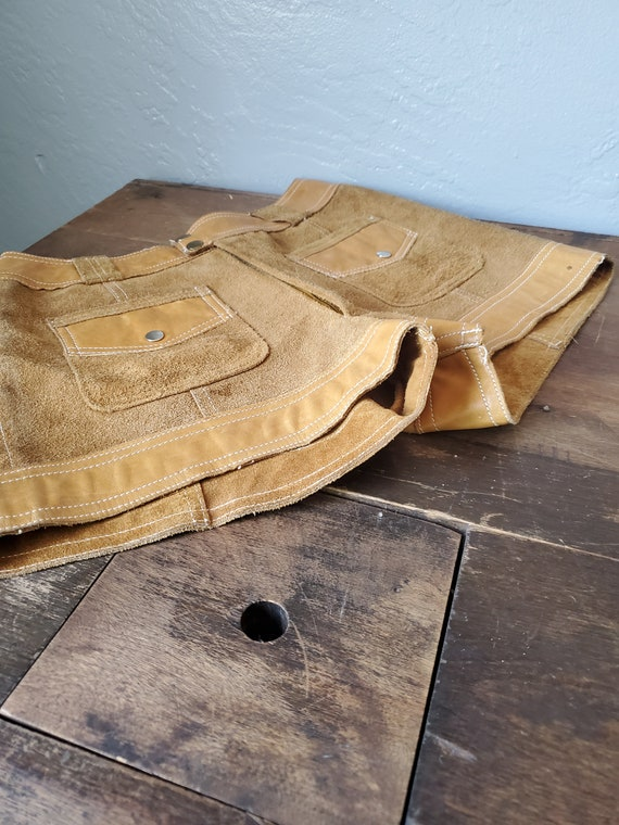 Vintage brown suede and leather shorts / vintage … - image 3
