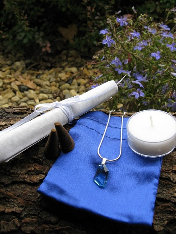 Archangel Michael Ritual Prayer Kit Religious Protection Metaphysical Blue  Crystal Amulet Angel Wicca Haunted Pendant Necklace Starry1night