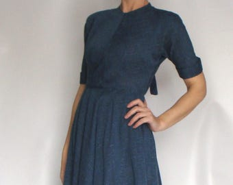 BLUE slubbed VINTAGE 1950's DRESS xs 24 waist new look (A4)