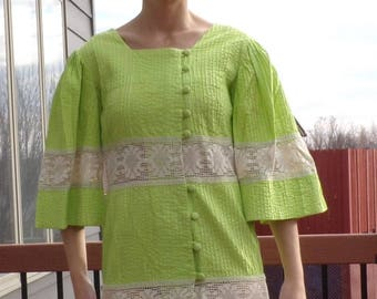 lime green VINTAGE BOHO DRESS hippie 1970's 70's 36 bust (A3)