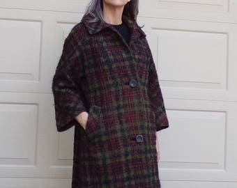 olive and burgundy PLAID WOOL COAT 1960's 60's mohair M