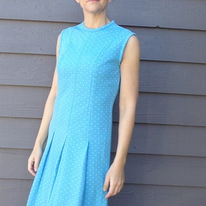 AQUA BLUE polka dot mod DRESS pussy bow neck tie M B1