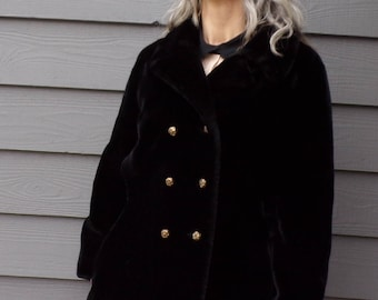 black FAUX FUR COAT double breasted peacoat S M
