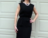 high-quality BLACK 1950 39 s FAILLE wiggle DRESS 50 39 s S (F1)