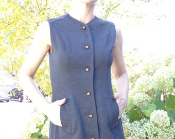 charcoal gray MOD KNIT DRESS marie phillips vest S
