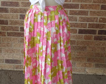 PINK AND GREEN pleated skirt 1960's 60's mad men S 25 waist (A9)