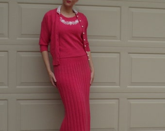 coral pink WOOL SWEATER SET knit shell skirt cardigan and belt S tobanna (D5)
