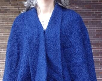 NAVY BLUE boucle CAPE vintage capelet shoulder wrap 50's 60's S