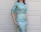 1950 39 s ABE SCHRADER silk wiggle DRESS aqua S 50 39 s