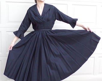 BLACK NEW LOOK taffeta dress vintage 50's 1950's 27 waist S M