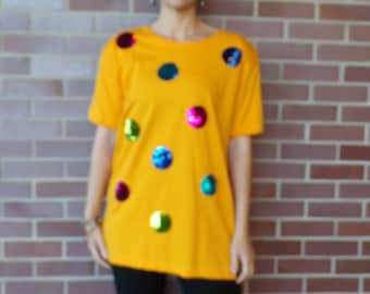 3ac4fc30 I. B. DIFFUSION 1990's golden yellow TEE sequin polka dots S M (H3)
