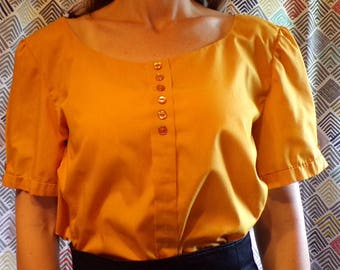 GOLDEN YELLOW BLOUSE 1980's does 1950's L xl