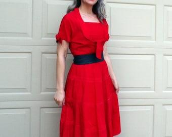 vintage RED TAFFETA 1950's DRESS S M 29 waist 50s