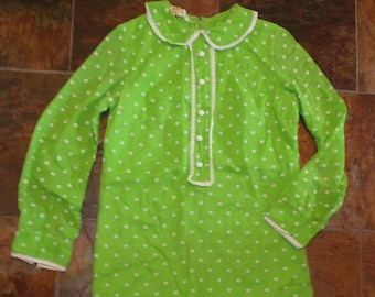 LIME GREEN POLKADOT shift dress Peter Pan collar beeline xs (B2)