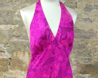 PINK HAWAIIAN HALTER maxi dress gown beach hawaii M (D1)